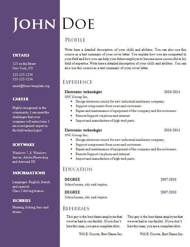 free resume doc